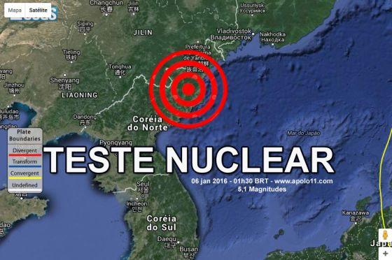 mapa mostra a localizacao de onde foi realizado o teste nuclear norte-coreano