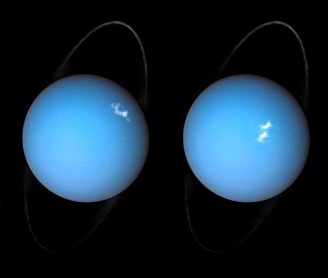 Auroras polares em Urano, registradas pela sonda Voyager 2 e telescópio Espacial Hubble
