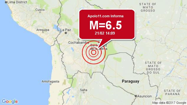 Forte terremoto sacode Bolívia, a 39 km de Padilla