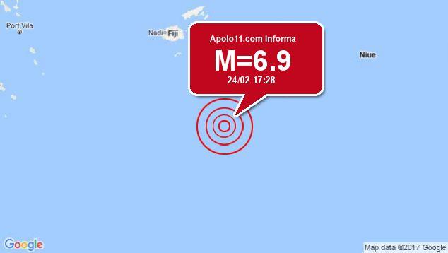 Forte terremoto atinge Fiji, a 283 km de Ndoi Island