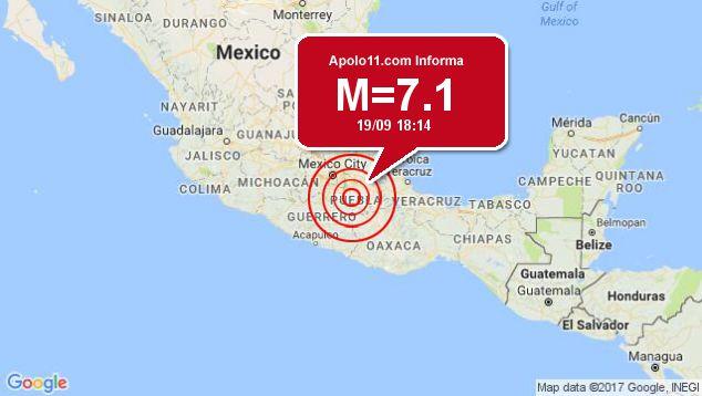Forte terremoto sacode México, a 5 km de Raboso
