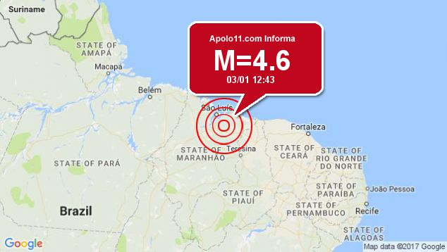 Terremoto de 4.6 pontos é registrado a 26 km de Nina Rodrigues, MA