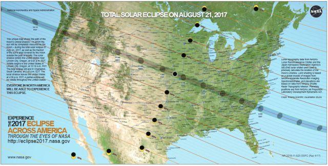 Caminho da sombra da Lua durante o eclipse solar de 21 de agosto de 2017