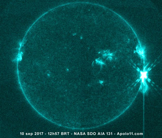 Flare solar X8.2 registrado pelo satelite SDO