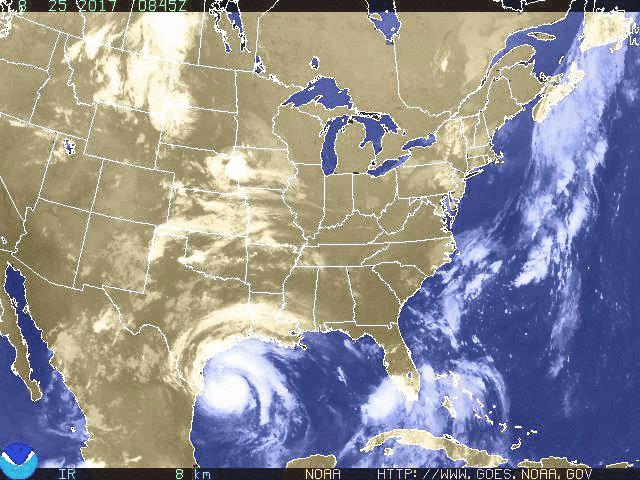 Imagem de satelite furacao Harvey