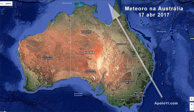 Possível trajetória do Meteorito de 17 de abril, na Austrália.