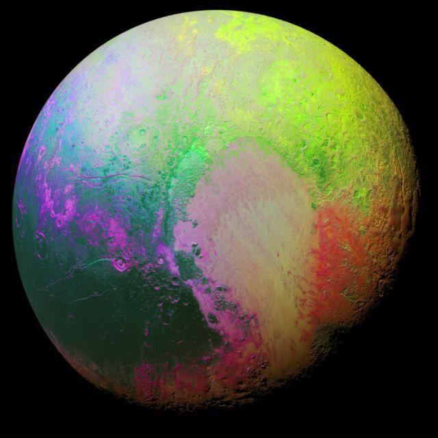 Planeta anao Plutao, em imagem registrada pela sonda New Horizons e colorida artificialmente para ressaltar as diferentes topografias.