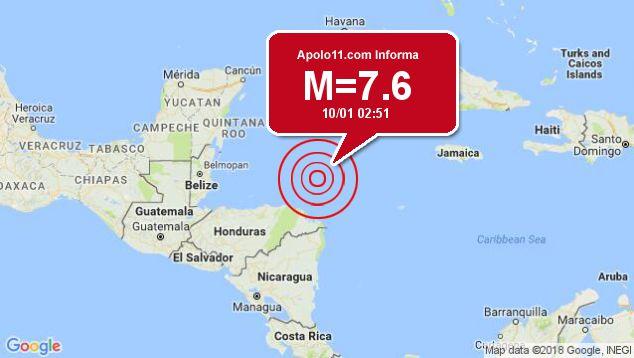 Forte terremoto sacode Honduras, a 36 km de Great Swan Islan