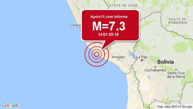 Forte terremoto sacode Peru, a 31 km de Acari