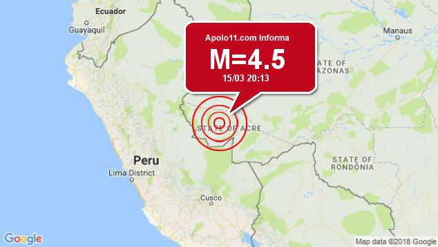 Terremoto de 4.5 pontos é registrado a 89 km de Tarauacá, AC
