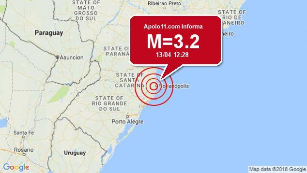 Terremoto de 3.2 pontos é registrado a 6 km de Santo Amaro da Imperatriz, SC
