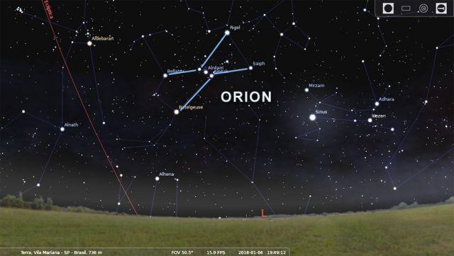 Carta celeste mostra a posicao da Nebulosa de Orion