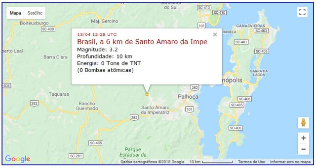 Localizacao do terremoto  proximo a Santo Amaro da Imperatriz, SC