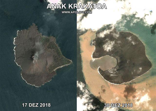 Imagem de satelite  mostram o antes e o depois da erupcao do vulcao Anak Krakatoa