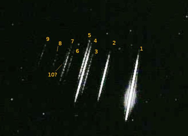 Enxamem de meteoros registrado pelo astrônomo amador Edgar Merizio, em São José do Ribamar, no Maranhão.
