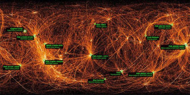 Potentes emissões de raios-x registradas pelo experimento NICER. Os objetos são pulsares e galáxias ativas, que brilhamem intensamente nesse comprimento de onda.