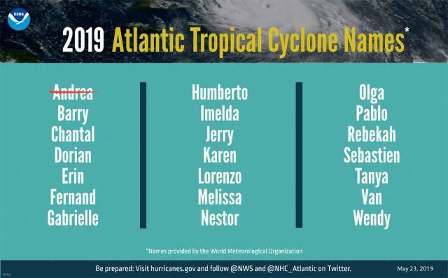 Consulte aqui a lista dos nomes das tempestades tropicais para este ano, divulgados pela NOAA.