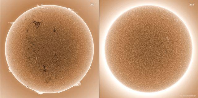 Comparacao de Manchas Solares entre 2012 e 2018
