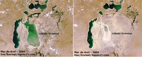 Imagens de satélite do mar de Aral