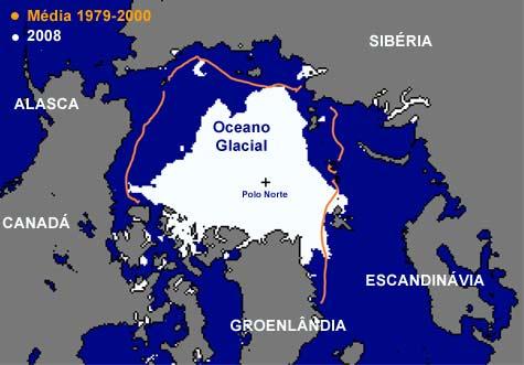 Diminuição da camada de gelo