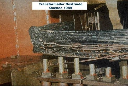 transformador destruido por tempesatde solar