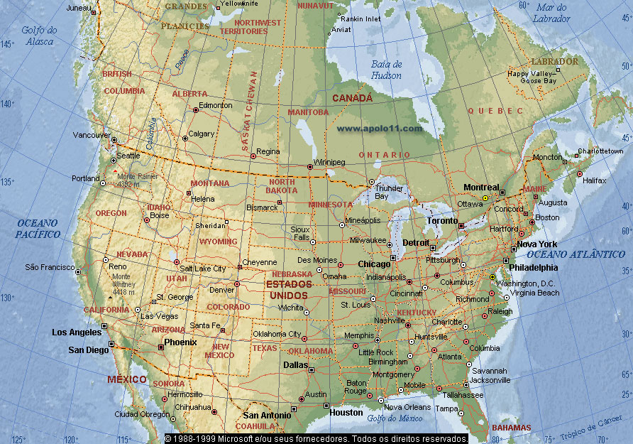 Mapa dos eua e canadá